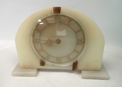 Vintage SMITHS White Stone Marble Wind Up Mantle Clock - SB1