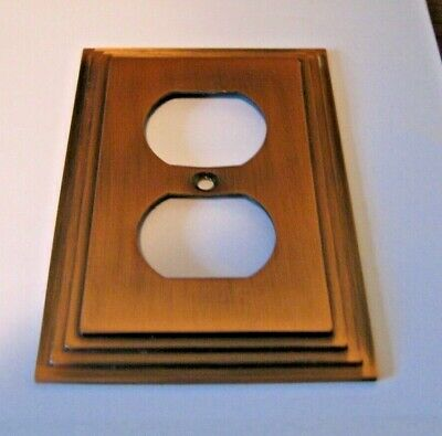 Amertac  Antique-Copper-Switch-Plate-Cover-Wallplate-Metal-Duplex-Outlet