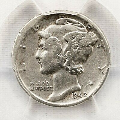 1942/1 Mercury Dime - PCGS VF Detail / Rim Damage - Silver 10c