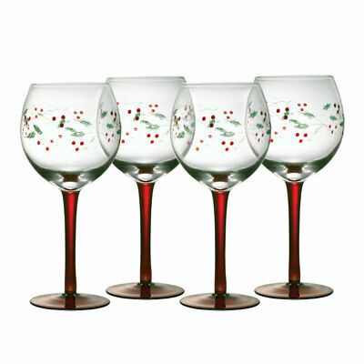Pfaltzgraff Christmas Winterberry Set of 4 Etched Wine Goblets