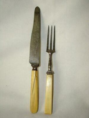 Antique BONE HANDLED 3-Tine Fork & Knife, Civil War Era, Harrison Bros. Howson