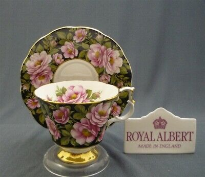 Royal Albert England RAMBLER ROSE Flora Series Bone China Tea Cup & Saucer Duo