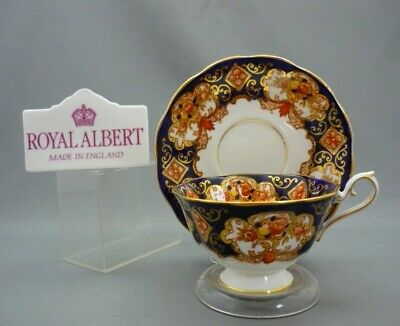Wide Royal Albert Bone China England HEIRLOOM Tea Cup & Saucer Gold Cobalt Blue