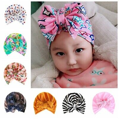Toddler Kids Baby Hat Indian Turban Beanies Soft Floral Caps Bowknot Head Wraps