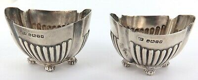 .1886 Matching Pair Hallmarked English Sterling Silver Condiment Bowls / Salts.