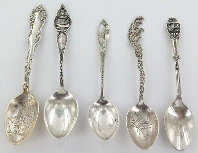 5 x ANTIQUE / VINTAGE USA CANADA STERLING SILVER COLLECTOR TEASPOONS.