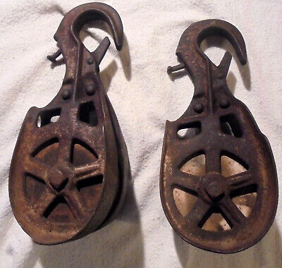 Antique Vintage Cast Iron wood wheels Hay Car Trolley Sling Pulleys Farm Barn