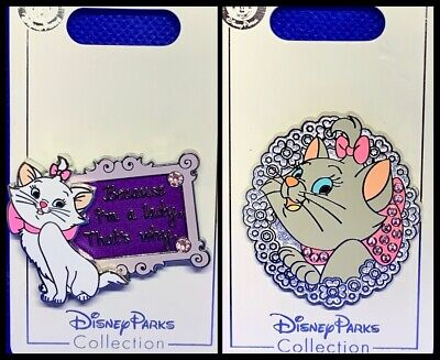 Disney Parks 2 Pin lot Aristocats Marie I am a Lady + jeweled pin - NEW !!!