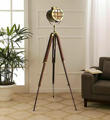 Antique Brass Finish Reproduction Handmade Wooden Tripod Floor Lamp Home Decor