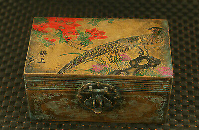 unique Chinese old copper Handcarved bird flower statue jewel jewelry box