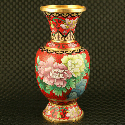 chinese rare old gilding cloisonne flower statue exquisite vase home decoration