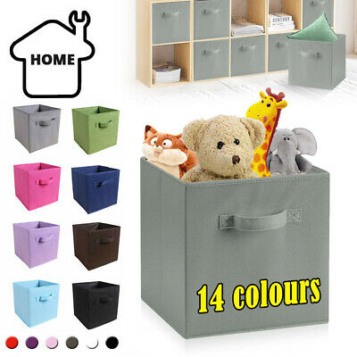 4/8 x Canvas Storage Boxes Foldable Basket Cube Magazine Bookcase Shelving Shelf
