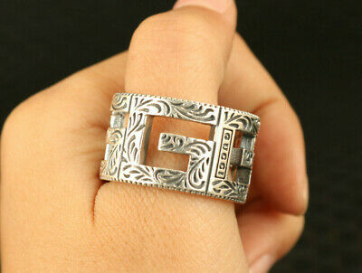 Asian old 100% 925 silver hand carving noble ring jewelry gift