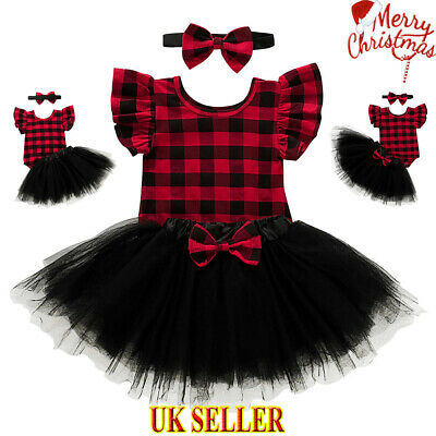 Christmas Xmas Newborn Baby Girls Plaid Romper Tops Playsuit Tutu Skirt Dress UK