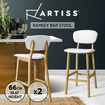 Artiss 2 x Kitchen Bar Stools Wooden Bar Stool Chairs Leather Barstools White