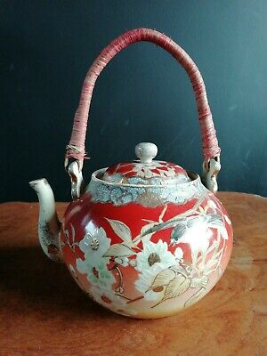Vintage japanese orange Kumari? teapot. 19th century or earlier. Hand painted.