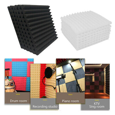 12Pcs Pyramid Foam Acoustic Pad Music Studio Sound Proofing Absorb Fire Proof UK