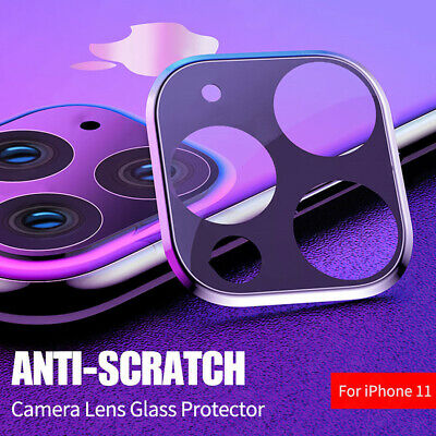 For iPhone 11 Pro Max Cover 3D Metal Tempered Glass Camera Lens Protector Film