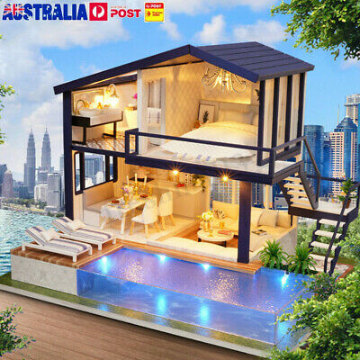 AU DIY LED Wooden Dollhouse Miniature Wooden Furniture Kit Doll Home Xmas Gift