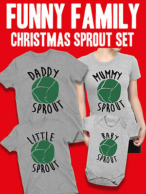 CHRISTMAS SPROUTS Mens Ladies Kids Family Matching Funny Xmas T-Shirts Jumper