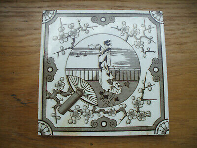 ANTIQUE ORIGINAL MINTON CHINA WORKS TILE c1910  WITH RARE ORIENTAL SCENE