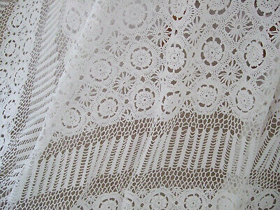 Antique French Lovely Hand Crocheted Bedspread/Throw/Tablecover.220cm x 230cm(B)