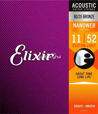 1set Elixir 11027 Nanoweb Custom Light 11-52 80/20 Acoustic Guitar Strings