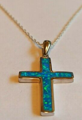 Large Sterling Silver Blue Opal Cross Necklace Crucifix Christmas Gift