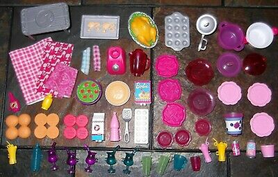 BARBIE KEN DOLL HOUSE KITCHEN DINING - 56pc SET of MODERN FOOD & DISHES