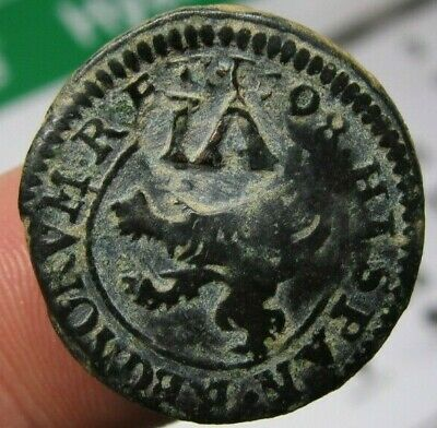 awesome 1598 PIRATE COB SPANISH 4 Maravedis Colonial Coin Felipe PHILIP III