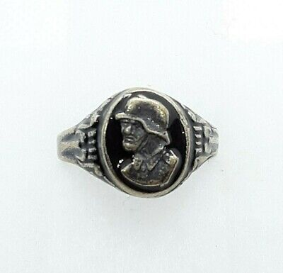 Antique WW2 German Military Soldier Ring Officer Ring WWII Silver Ring