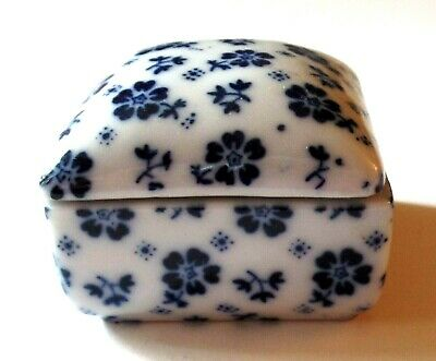 Vintage Small Porcelain Ceramic White & Blue Floral Jewelry Trinket Box