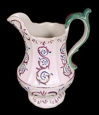 "Copper Lustre Creamer Pitcher Jug 5 1/2"" Hand Painted Blue Floral Ornate Antique"