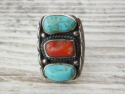 Vtg NATIVE AMERICAN Old Pawn NAVAJO Sterling Silver TURQUOISE & RED CORAL RING