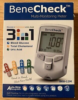 Benecheck Multi Monitoring Device 3 in 1 Test Cholesterol Uric Acid Glucose