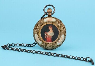 Bronze Glass Hand-Painted Beauty Pocket Watch Pendant High-End Collec Gift