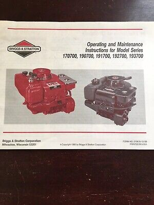 Briggs And Stratton Engine Operating And Maintenance Manual, 170700, 190700,