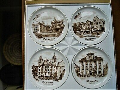 Kaiser West German Porcelain Set of 4 Various brown white Coasters new in  boxed