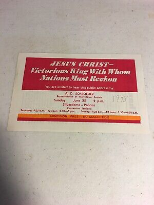 1978 Victorious Faith Convention Handbill Invitation  Tract Watch Tower