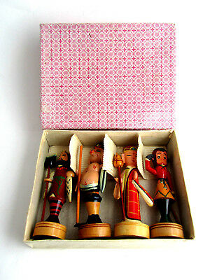 Vintage Hand Carved Wood Painted Figurine Lot in Original Box Christmas