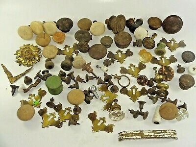 Antique Vintage Mixed Lot of Old Drawer Cabinet Pulls Parts & Similar 3 lbs Auc1