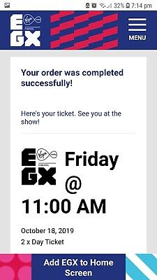2x Adult EGX 2019 Day ticket for Friday 18th October 11am-10pm