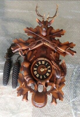 Large Vintage German Cuckoo Clock; Heco 8 Day; Black Forest Hunting: Deer Etc