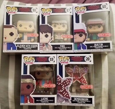 Stranger Things 8-Bit Funko Pop LOT OF 5 Demogorgon Eleven Dustin Mike Lucas