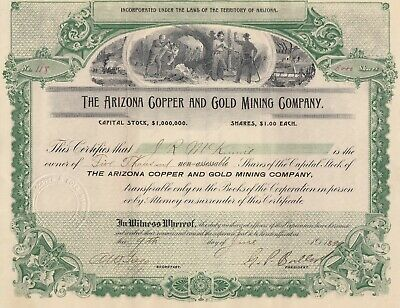Arizona Copper and Gold Mining Stock Certificate 1899 Arizona