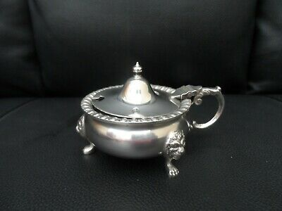 Antique silver plate Mustard hinged pot with liner & decorative loins paw feet