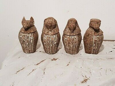Rare Antique Ancient Egyptian 4 canopic jars internal organs Mummy 1790-1680BC