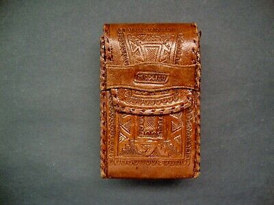 Early 1960's Handmade Leather Cigarette Case  Made in Mexico  House Oppenheim