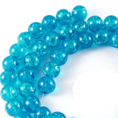 Blue Pink Wholesale 8mm Round Crackle Glass Beads G2230-50 100 Or 200PCs