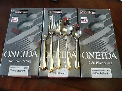 Oneida Golden Julliard Silverware 18/10 12 place settings. Only 5 have been used